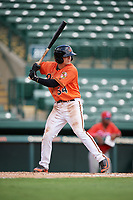 Baltimore Orioles Cadyn Grenier (54) at bat during a Florida Instructional League game against the Philadelphia Phillies on October 4, 2018 at Ed Smith Stadium in Sarasota, Florida.  (Mike Janes/Four Seam Images)