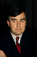 Montreal (Qc) CANADA -<br /> <br /> Lucien Bouchard, in an undated file photo circa 1990<br /> <br /> Bouchard joined Mulroney's Progressive Conservative government in 1988 as Secretary of State and later Minister of the Environment, serving until 1990. While still a strong Quebec nationalist, he believed that Mulroney's Meech Lake Accord was sufficient to placate nationalist feelings and keep Quebec in confederation.<br /> <br /> However, after a commission headed by Jean Charest recommended some changes to the Accord, Bouchard left the Progressive Conservatives (May 1990), feeling that the spirit and objectives of Meech were being diluted. Mulroney felt betrayed by Bouchard, and rejected his reasoning, having heard from a friend that Bouchard planned on leaving days before the Commission's report. In fact, in his memoirs Mulroney stated that trusting Bouchard was his most regretful and costliest mistake as Prime Minister. After the failure of Meech, Bouchard formed the sovereigntist Bloc Qu&Egrave;b&Egrave;cois, initially a faction of disaffected, separatist federal MPs and later a full-blown party, which attracted a variety of former Liberals and Conservatives.