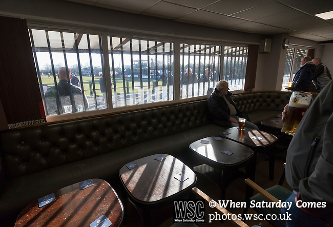 Rushall Olympic 1 Workingon 0, 17/02/2018. Dales Lane, Northern Premier League Premier Division. Fans watching with a pint in the clubhouse. Photo by Paul Thompson.