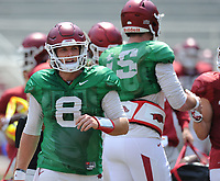 NWA Democrat-Gazette/ANDY SHUPE<br /> Arkansas quarterback Austin Allen returns to the sideline Saturday, Aug. 5, 2017, prior to the start of a scrimmage in Razorback Stadium in Fayetteville. Visit nwadg.com/photos to see more photographs from the practice.