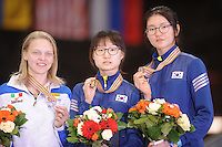 "SHORT TRACK: MOSCOW: Speed Skating Centre ""Krylatskoe"", 15-03-2015, ISU World Short Track Speed Skating Championships 2015, Final Podium Ladies, Arianna FONTANA (ITA), Minjeong CHOI (KOR), Suk Hee SHIM (KOR), ©photo Martin de Jong"