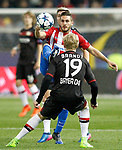 Atletico de Madrid's Koke Resurrection (f) and Bayer 04 Leverkusen's Julian Brandt during Champions League 2016/2017 Round of 16 2nd leg match. March 15,2017. (ALTERPHOTOS/Acero)