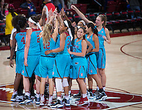 STANFORD, CA - December 4, 2016: Team at Maples Pavilion. Stanford defeated UC Davis, 68-42. The Cardinal wore turquoise uniforms to honor Native American Heritage Month