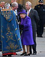 The Queen at Commonwealth Day Observance Service, an annual multi-faith service in celebration of the Commonwealth, at Westminster Abbey, London, England on March 11, 2019.<br /> CAP/JOR<br /> &copy;JOR/Capital Pictures
