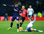 1st February 2019, Deepdale, Preston, England; EFL Championship football, Preston North End versus Derby County; Alan Browne of Preston North End makes sliding tackle on Tom Lawrence of Derby County