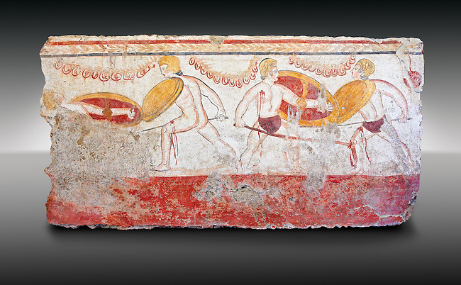 Lucanian fresco tomb painting of men dualing . Paestrum, Andriuolo. 3rd Century BC