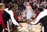 Stanford's Mikaela Ruef,is being announced before that start of Saturday, November 25, 2012 game against Long Beach State at Stanford. Stanford won 77-41.