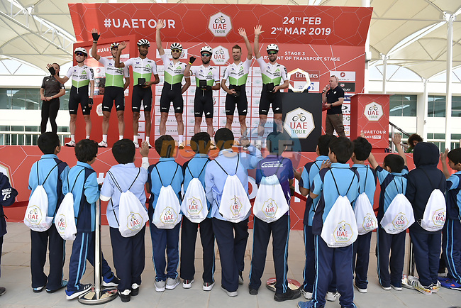 Team Dimension Data presented at sign on before the start of Stage 3 of the 2019 UAE Tour, running 179km form Al Ain to Jebel Hafeet, Abu Dhabi, United Arab Emirates. 26th February 2019.<br /> Picture: LaPresse/Fabio Ferrari | Cyclefile<br /> <br /> <br /> All photos usage must carry mandatory copyright credit (© Cyclefile | LaPresse/Fabio Ferrari)