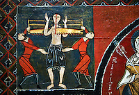 12th century Romanesque painted altar front from Saint Quirc de Durro, Val de Boi, Alta Ribagorca, Spain, showing scenes depicting the martyrdom of saints.  National Art Museum of Catalonia, Barcelona 1919-23. Ref: MNAC 15809.