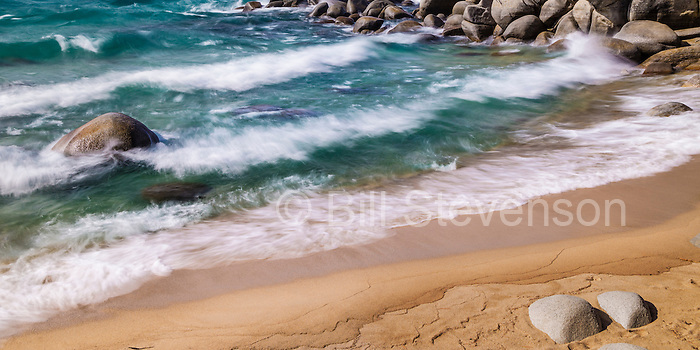 A long exposure image of waves along the east shore of Lake Tahoe in Nevada. On this day the wind was blowing up to 40 mph creating beautiful sets of waves. I had the beach all to myself as the cold winter wind kept everyone away.