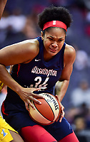 Washington, DC - June 15, 2018: Washington Mystics center Krystal Thomas (34) makes a strong move to the basket during game between the Washington Mystics and Chicago Sky at the Capital One Arena in Washington, DC. (Photo by Phil Peters/Media Images International)