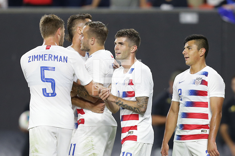 CLEVELAND, OHIO - JUNE 22: Christian Pulisic #10 during a 2019 CONCACAF Gold Cup group D match between the United States and Trinidad & Tobago at FirstEnergy Stadium on June 22, 2019 in Cleveland, Ohio.