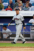 Scranton/Wilkes-Barre RailRiders manager Bobby Mitchell (7) walks to the mound during a game against the Syracuse Chiefs on June 14, 2018 at NBT Bank Stadium in Syracuse, New York.  Scranton/Wilkes-Barre defeated Syracuse 9-5.  (Mike Janes/Four Seam Images)