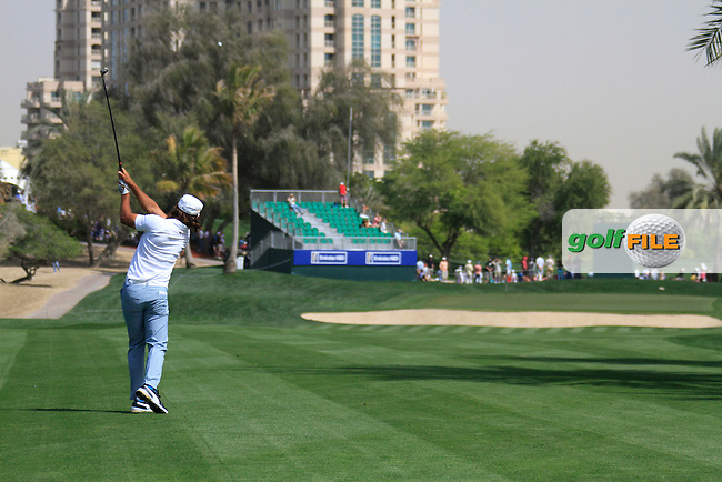 Johan Edfors (SWE) plays his 2nd shot on the 14th hole during Saturday's  Round 3 of the 2012 Omega Dubai Desert Classic at Emirates Golf Club Majlis Course, Dubai, United Arab Emirates, 11th February 2012(Photo Eoin Clarke/www.golffile.ie)