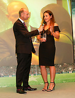 Thursday 10th May 2018 | Ulster Rugby Awards 2018<br /> <br /> Stephen Watson interviews the Deloitte Women&rsquo;s Player of the Year Award winner Larissa Muldoon, during the 2018 Heineken Ulster Rugby Awards at La Mom Hotel, Belfast. Photo by John Dickson / DICKSONDIGITAL