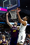 Barcelona's Ante Tomic and Real Madrid's Anthony Randolph during Liga Endesa match between Real Madrid and FC Barcelona Lassa at Wizink Center in Madrid, Spain. March 24, 2019.  (ALTERPHOTOS/Alconada)