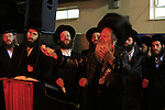 Israel, Lag B'Omer celebration in Bnei Brak, the Rebbe of Premishlan congregation and his Hasidim by the fire