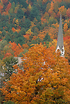 Church steeple and fall foliage, Groton, Vermont, USA