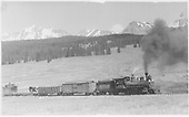 RGS #40 with 3-car freight approaching Lizard Head northbound.<br /> RGS  Lizard Head, CO  Taken by Virden, Walter - 6/20/1942