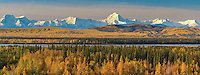 Prominent peaks in the Alaska range mountains, Moffit and Hayes, (left to right) Tanana river in the foreground, interior, Alaska.