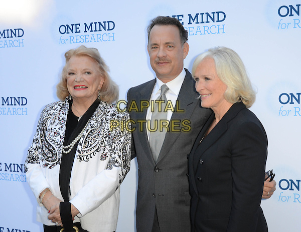 Gena Rowlands, Tom Hanks, Glenn Close.Circle Of Hope Dinner And Entertainment Gala held at Beverly Hills Hotel, Beverly Hills, California, USA..September 19th, 2012.half length black white blazer paisley print pearl necklace grey gray suit profile.CAP/ADM/TW.©Tonya Wise/AdMedia/Capital Pictures.