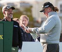 21.05.2015. Wentworth, England. BMW PGA Golf Championship. Round 1.  Miguel Angel Jimenez [ESP] shares a joke with Darren Clarke [NIR] on the first tee. The first round of the 2015 BMW PGA Championship from The West Course Wentworth Golf Club