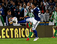 BOGOTA - COLOMBIA - 18 – 02 - 2018: Juan Guillermo Dominguez (Der.) jugador de Millonarios disputa el balón Jorman Campuzano (Izq.) jugador de Atletico Nacional, durante partido de la fecha 4 entre Millonarios y por la Liga Aguila I 2018, jugado en el estadio Nemesio Camacho El Campin de la ciudad de Bogota. / Juan Guillermo Dominguez (R) player of Millonarios vies for the ball with Dayro Moreno (L) player of Atletico Nacional, during a match of the 4th date between Millonarios and Atletico Nacional, for the Liga Aguila I 2018 played at the Nemesio Camacho El Campin Stadium in Bogota city, Photo: VizzorImage / Luis Ramirez / Staff.