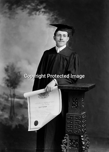Lewis Peter Litzinger, Sr. (1880) with diploma - taken 1901-1903<br />