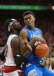 Center Dakari Johnson of the Kentucky Wildcats drives to the basket during the game against  the Louisville Cardinals at KFC Yum! Center on Saturday, December 27, 2014 in Louisville `, Ky. Kentucky leads Louisville 22-18 at halftime. Photo by Michael Reaves | Staff