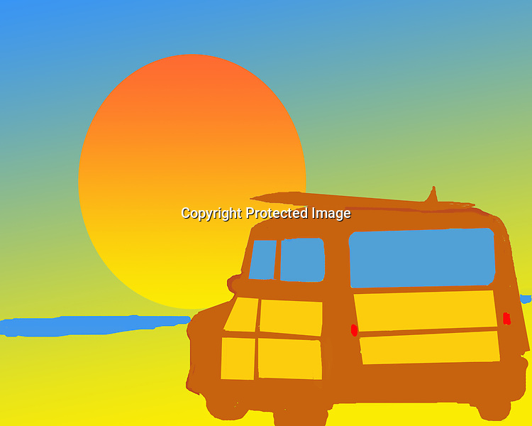 Fine Art Print of a Woodie and Sunset