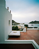 GREECE, Patmos, Grikos, Dodecanese Island, private balcony of a suite at the Petra Hotel