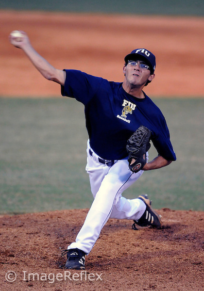 Florida International University baseball player right handed pitcher Eric Berkowitz (2) pitches against Ontario on October 22, 2008 at Miami, Florida. FIU won the game 1-0. .