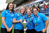High Wycombe, England. Wasps' Rugby World Cup winning ladies, Joanna McGilchrist, Marlie Packer, La Toya Mason and Claire Purdy during the Aviva Premiership match between Wasps and Northampton Saints at Adams Park on September 14, 2014 in High Wycombe, England.