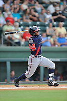 Designated hitter Ronald Acuna (24) of the Rome Braves bats in a game against the Greenville Drive on Tuesday, August 30, 2016, at Fluor Field at the West End in Greenville, South Carolina. Greenville won, 7-3. (Tom Priddy/Four Seam Images)