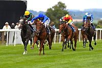 Winner of The Gift Of Sight Appeal EBF Novice Stakes Div 2  Global Hero (blue cap) ridden by Hector Crouch and trained by Saeed bin Suroor during the Bathwick Tyres & EBF Race Day at Salisbury Racecourse on 6th September 2018