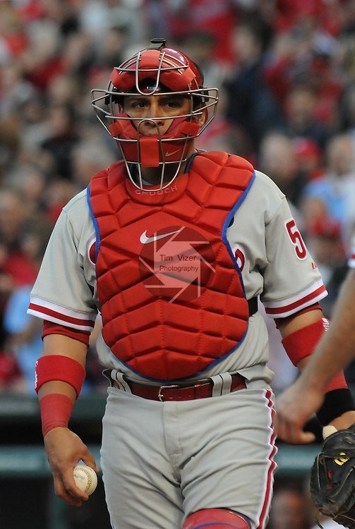 16 May 2011                             Philadelphia Phillies catcher Carlos Ruiz (51).  The St. Louis Cardinals defeated the Philadelphia Phillies 3-1 on Monday May 16, 2011 in the first game of a two-game series at Busch Stadium in downtown St. Louis.