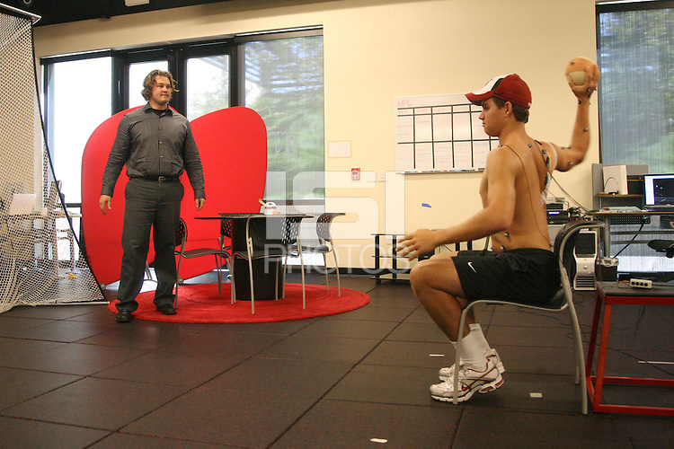 STANFORD, CA - OCTOBER 23:  Ted Kelly of the Stanford Cardinal is tested in the Human Performance Lab on October 23, 2008 in Stanford, California.