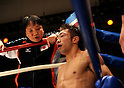 (R-L) Akira Yaegashi (JPN),  Hideyuki Ohashi, OCTOBER 24, 2011 - Boxing : Akira Yaegashi of Japan with Ohashi boxing gym chairman Hideyuki Ohashi after the third round during the WBA minimumweight title bout at Korakuen Hall in Tokyo, Japan. (Photo by Mikio Nakai/AFLO)
