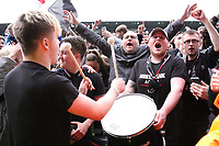 St Mirren fans celebrate after winning the Scottish Professional Football League Ladbrokes Championship at the Paisley 2021 Stadium, Paisley on 14.4.18.