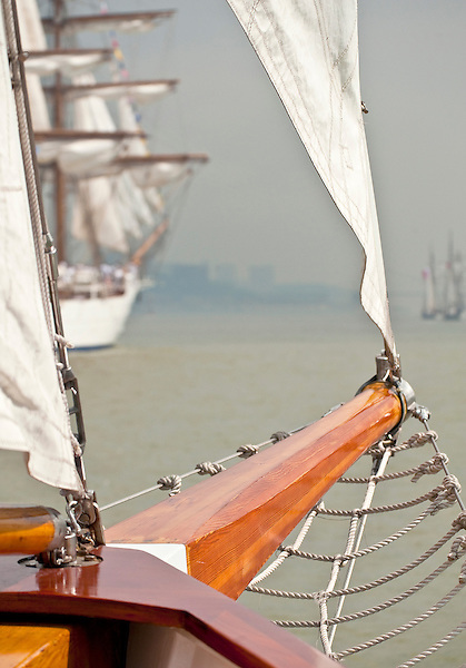 Sailing on the Schooner Adirondack II during the Parade of Sail for OpSail New York, 2012 in New York Harbor