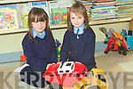 PLAYING: Alannah Stritch and Gemma Guerin of Bouleenshere NS on their first Day Tuesday playing with their toys.... ....