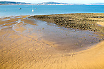 Beach at low tide, Swansea bay, Mumbles, Gower peninsula, South Wales, UK