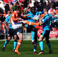Blackpool's Sean Longstaff competes with Fleetwood Town's Toumani Diagouraga<br /> <br /> Photographer Richard Martin-Roberts/CameraSport<br /> <br /> The EFL Sky Bet League One - Blackpool v Fleetwood Town - Saturday 14th April 2018 - Bloomfield Road - Blackpool<br /> <br /> World Copyright &copy; 2018 CameraSport. All rights reserved. 43 Linden Ave. Countesthorpe. Leicester. England. LE8 5PG - Tel: +44 (0) 116 277 4147 - admin@camerasport.com - www.camerasport.com