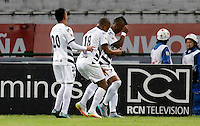 MANIZALES -COLOMBIA, 10-07-2016. Rivelino Hinestroza jugador del Alianza Petrolera  celebra su gol contra  el Once Caldas  durante encuentro  por la fecha 2 de la Liga Aguila II 2016 disputado en el estadio Palogrande./ Rivelino Hinestroza   player of Alianza Petrolera celebrates his goal agaisnt of Once Caldas  during match for the date 2 of the Aguila League II 2016 played at Palogrande stadium . Photo:VizzorImage / Santiago Osorio / Contribuidor
