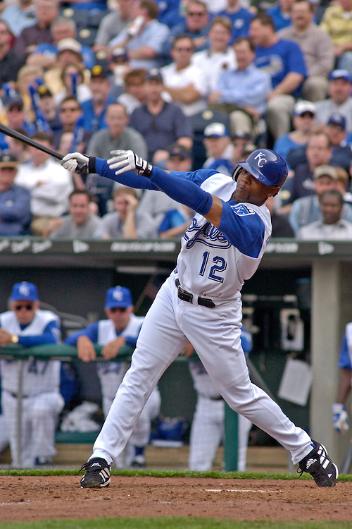 Royals infielder Desi Relaford in action on opening day against the Chicago White Sox at Kauffman Stadium in Kansas City, Missouri on March 31, 2003. The Royals won, 3-0.