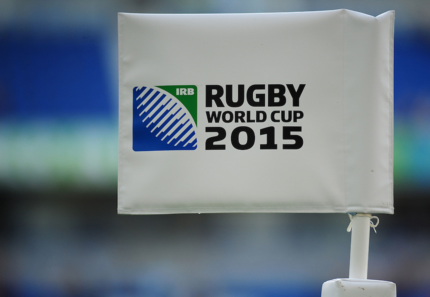 Rugby World Cup 2015 branding on the corner flag<br /> <br /> Photographer Kevin Barnes/CameraSport<br /> <br /> Rugby Union - 2015 Rugby World Cup - Samoa v USA - Sunday 20th September 2015 - Brighton Community Stadium - Falmer - Brighton<br /> <br /> &copy; CameraSport - 43 Linden Ave. Countesthorpe. Leicester. England. LE8 5PG - Tel: +44 (0) 116 277 4147 - admin@camerasport.com - www.camerasport.com