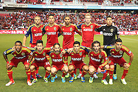 Real Salt Lake starting eleven during the first half of the U.S. Open Cup Final on October 1, 2013 at Rio Tinto Stadium in Sandy, Utah.