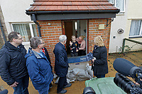 Pictured: Jeremy Corbyn speaks to local resident Selena Adamiec and her son Jacob Davidge, 7, whose house was damaged by the flood. Thursday 20 February 2020<br /> Re: Jeremy Corbyn, the leader of the Labour Party visits the area of Rhydyfelin near Pontypridd, south Wales, UK.
