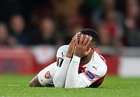 Arsenal's Alexandre Lacazette during the UEFA Europa League Semi-Final 1st leg match between Arsenal and Valencia at the Emirates Stadium, London, England on 2 May 2019. Photo by Andrew Aleksiejczuk / PRiME Media Images.