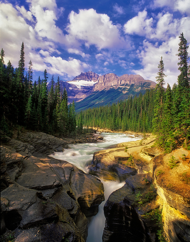 Mystaya River and Canyon with Mt. Sarbach. Manff National Park, Canada